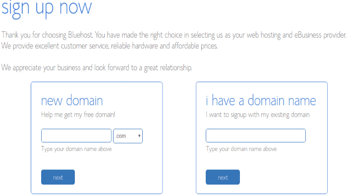 Choose a domain  name at Bluehost