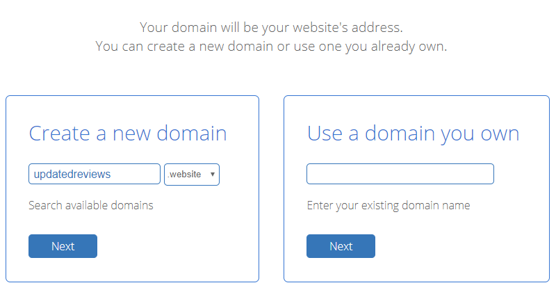 BlueHost WordPress Set up - Domain Name Selection